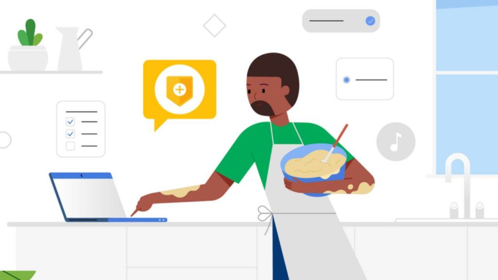 Illustrateion of a man cooking with batter on his arms as he works on a laptop in the kitchen showing the Google Security sign on the screen