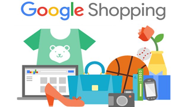 Google Shopping sign with various products under it - a laptop, high heel shoe, purse, basketball, digital camera. Baseball, wrapped present, mobile phine and vase with a flower in it.