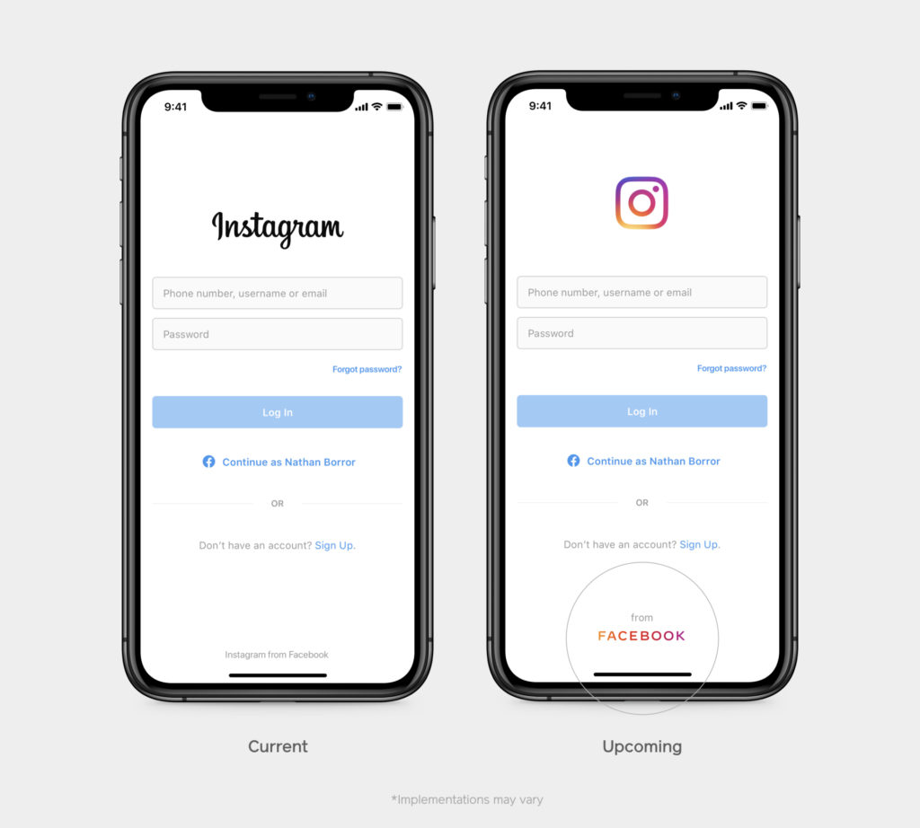 Two iPhones with the instagram log in screen on- the one on the right shows the name Instagram and log in to show what currently appears and the iPhone on the left only has the instagram logo on the top, log in details and at the bottom 'from FACEBOOK' with the brand colours of instagram