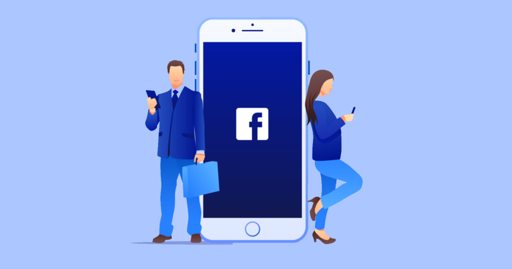 Illustration of a man and woman in business clothing, standing next to a large image of an iPhone with the Facebook logo on the screen.
