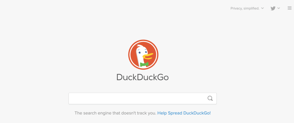 DuckDuckGo search engine home page with the DickDuckGo logo and search bar tab beneath it