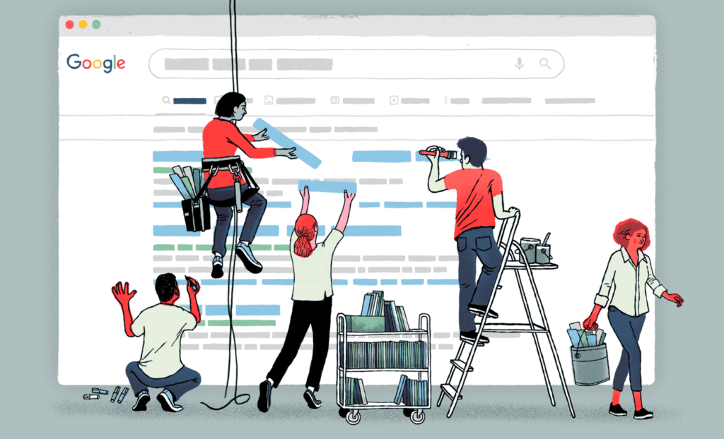 Image of people editing the search engine results page of Google, indicating that Google engineers manipulate results seen on the SERP.