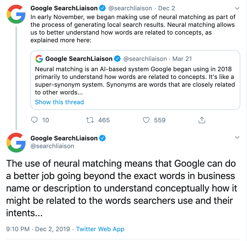 Twitter thread of Google Search Liaison announcing the inclusion of neural matching in generating local search results.