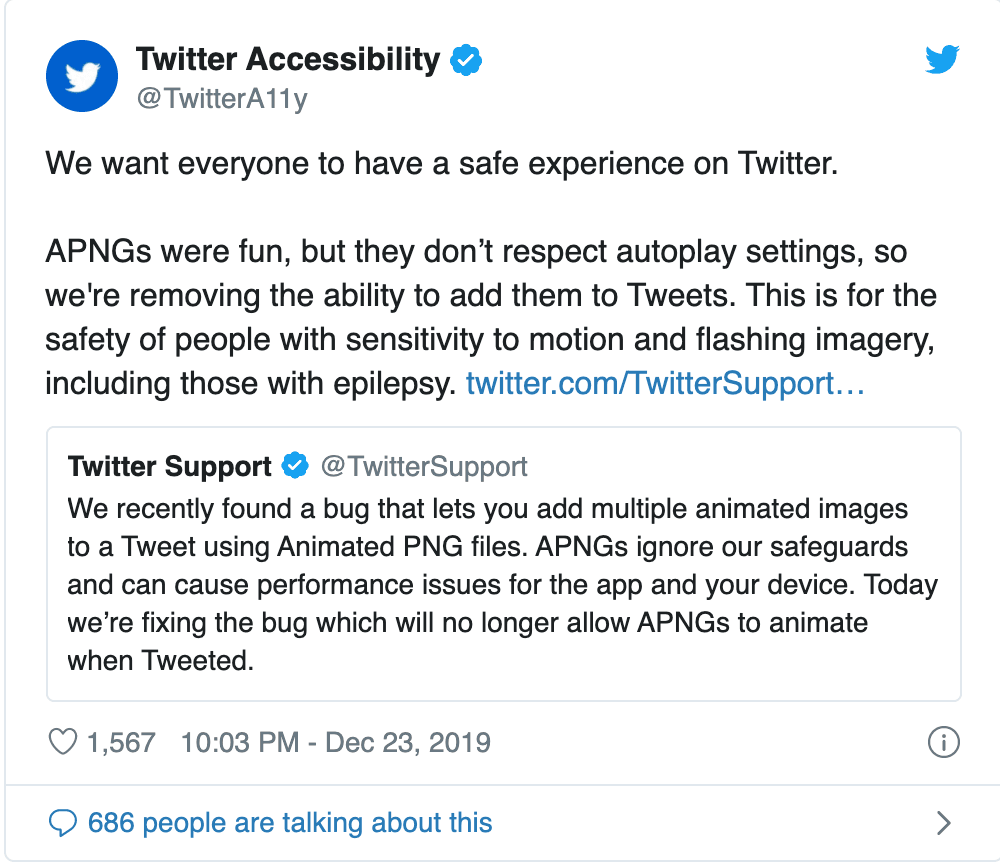 Twitter accessibility announcement stating the removal of APNG images from its platform.