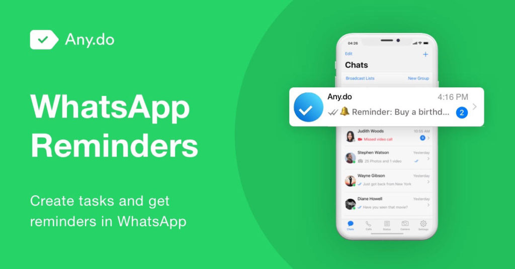 New reminder feature on Whatsapp that sends notifications for reminders and tasks in the app