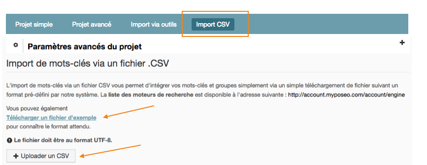 import-mots-cles-csv